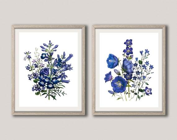 Kitchen Flower Prints Set of 2 Flower Posters Blue Flower Decor Blue Flower Wall Art Blue Posters Living Room Decor Flower Decor WBOT102-103