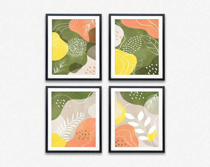 Abstract Floral Print Set of 4 Peach and Green Posters
