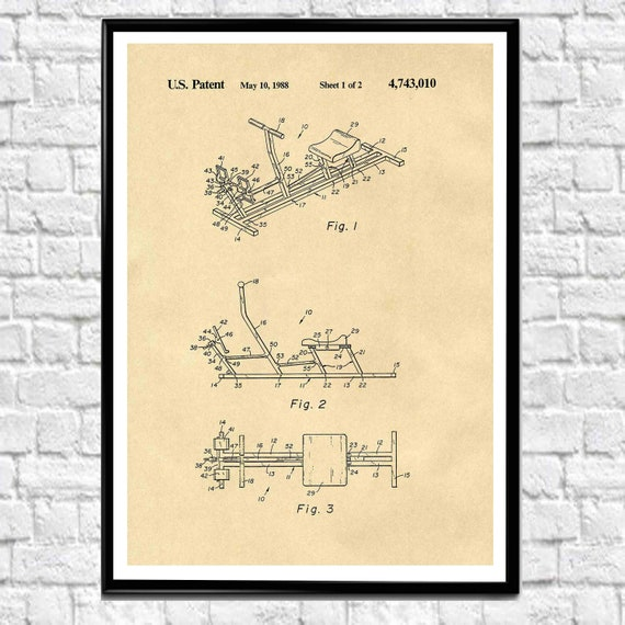 Rowing Machine Wall Art Rowing Machine Patent Print WB430
