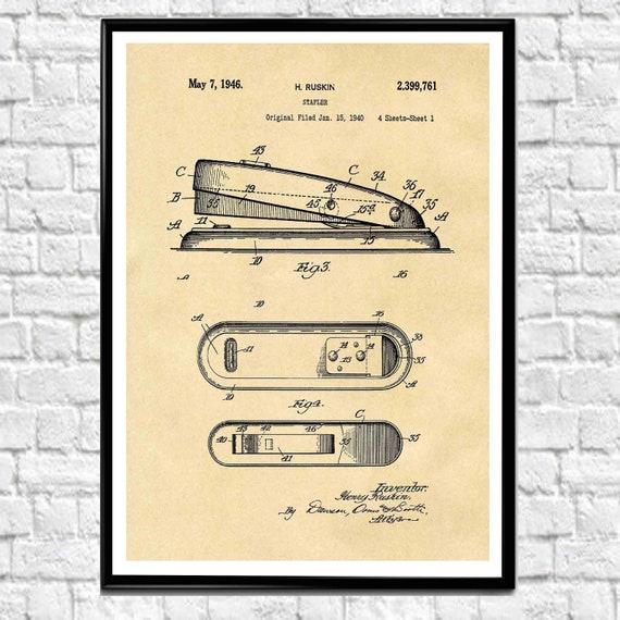 Stapler Patent Print Stationary Poster Stationary Wall Art Office Decor