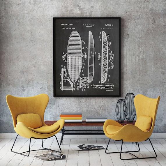 Surfing Wall Art Surfing Poster Surfboard Print Patent Print of 1950 Surf board Poster Surfboard Poster Beach Surf Decor Surf Wall Art WB049