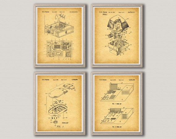 Computer Poster Set of 4 Computer Office Decor Office Wall Art Office Poster Set of Computer Wall Art Prints Computer Gifts WB286287-288-290
