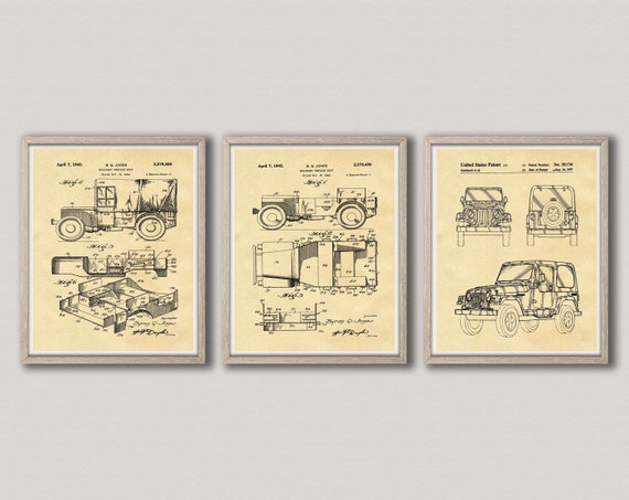 Jeep Gift Patent Print Set of 3 Jeep Posters Jeep Wall Art Jeep Club Poster Jeep Decor Road Poster Jeep Enthusiast Jeep Art WB342-WB344