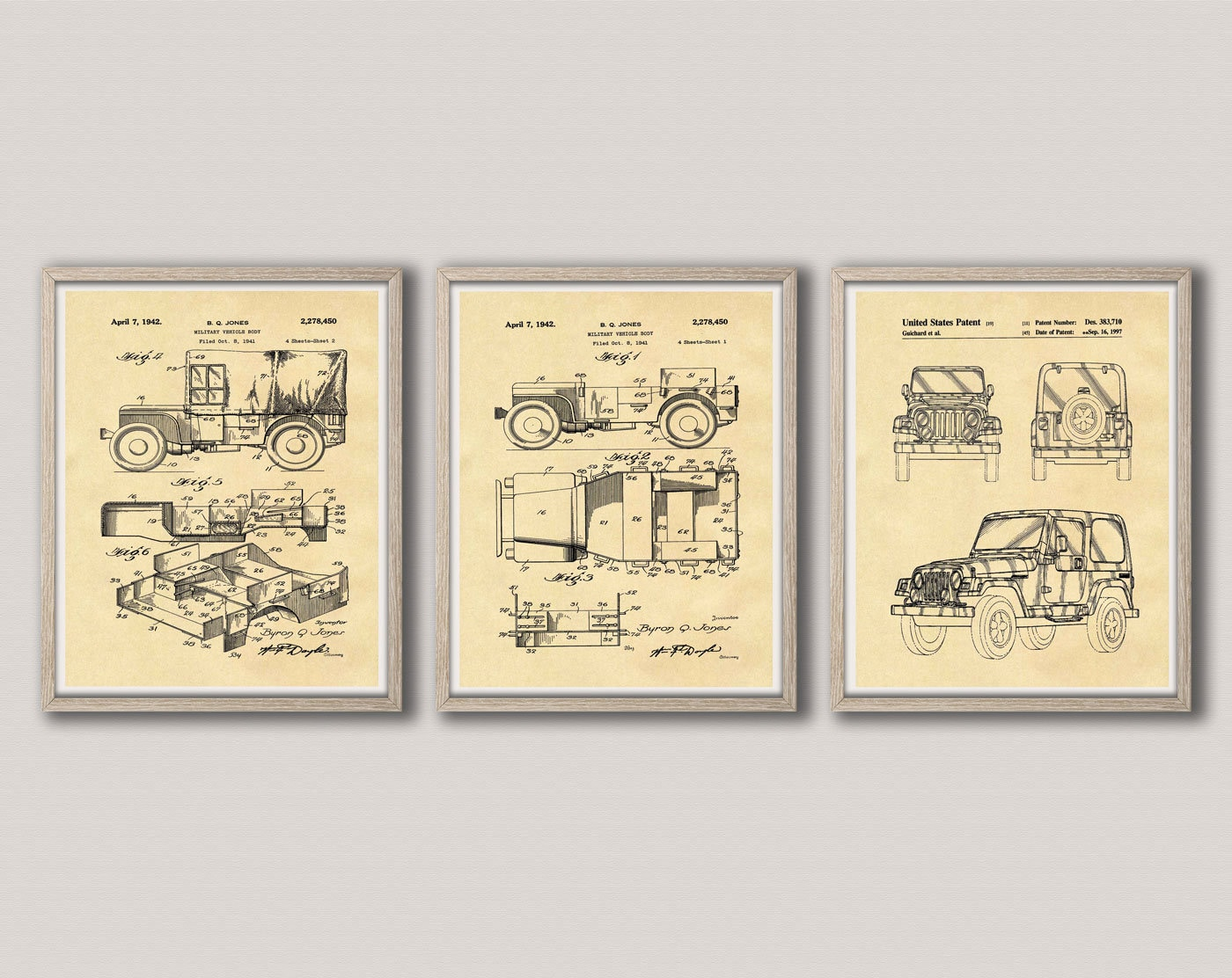 Jeep Gift Patent Print Set of 3 Jeep Posters Jeep Wall Art Jeep Club ...