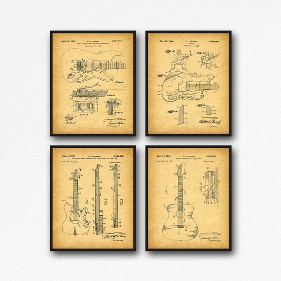 Rare Guitar Posters Guitar Inventions Wall Art Guitar Gift Set of 4