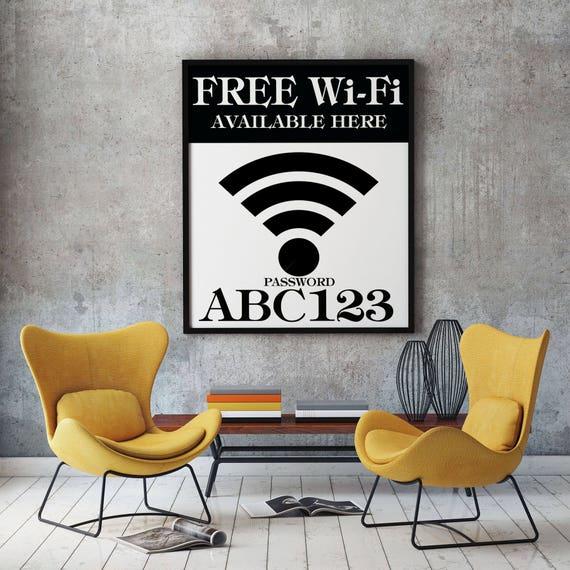 WiFi Password Sign WiFi Sign Wifi Poster WiFi Print WiFi Password Decor WiFi Art Personalized WiFi Sign Guest Room Decor Guest Room Art
