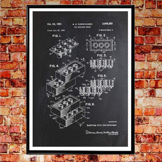 Toy Brick Patent Print Patent Poster Toy Art WB#001