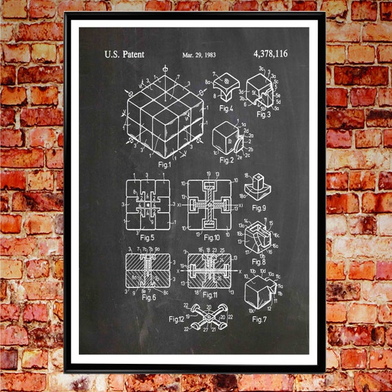 Rubik's Cube Patent Print Rubiks Cube Poster Rubiks Cube Gift Maths Gift Toy Room Decor Toy Gift Rubiks Cube Art Retro 1980s Poster WB349