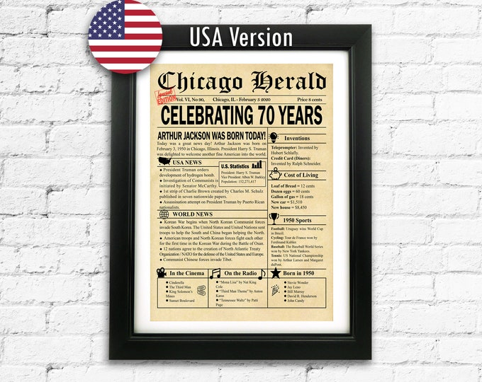 70th Birthday Custom Newspaper Front page Gift 70 Years Gift USA Version