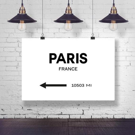 Paris City Sign Paris Print Wall Art Eiffel Tower Sign Paris Art Paris Photo French Wall Art City Wall Art Personalized Art Signpost