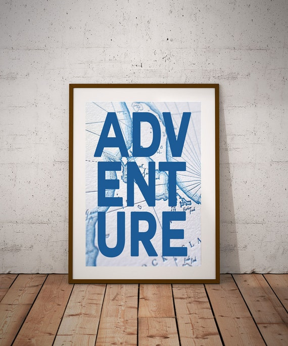 Travel Wall Art Map Travel Map Art Adventure Wall Art Print Blue Map Wall Art Map Adventure World Map Art (sizes up to 50cm x 70cm)