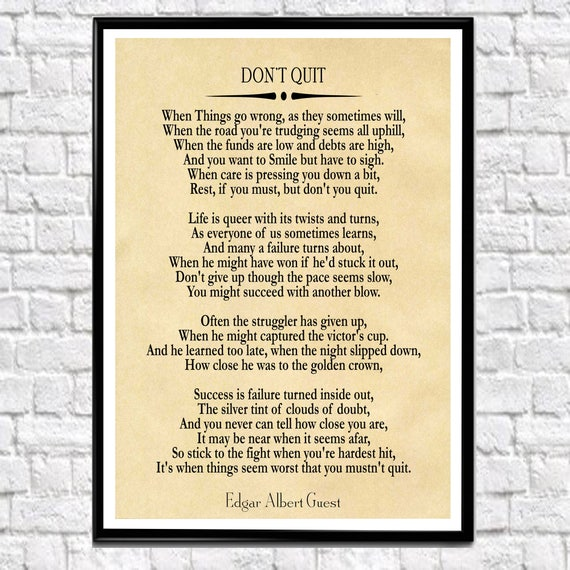 The Fight Background Don/'t Quit Motivational Poem Art Print Poster Gift