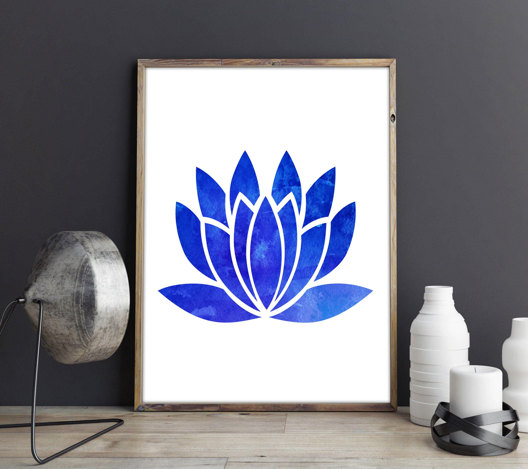 Lotus Flower Watercolor Print Lotus Flower Poster Lotus Flower Decor