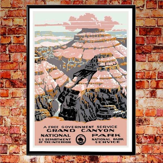 National Parks Poster Crand Canyon National Park Arizona 1937 USA Vintage Poster National Park Wall Art WPA Poster