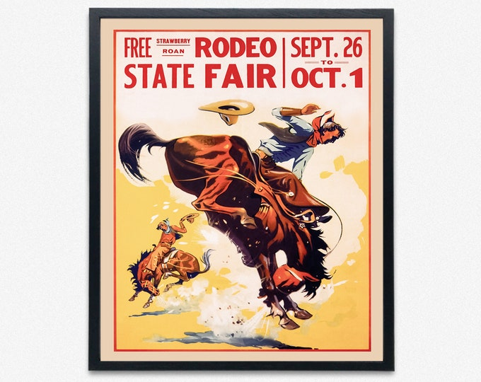 Large Rodeo Poster Cowboy Wall Art Western Decor Print