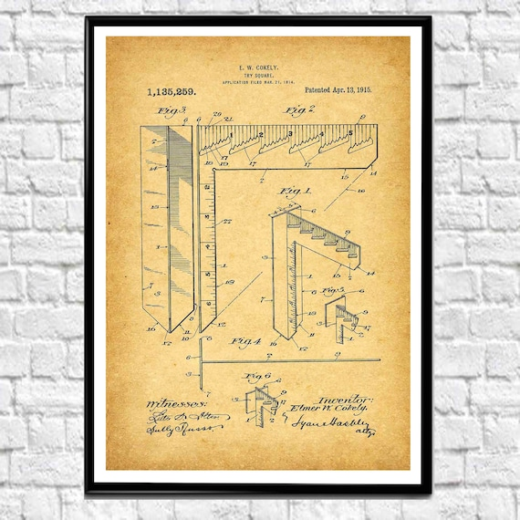 Try Square Patent Art CAD Drawing Design Wall Art Architect Office Decor