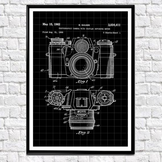 Photographic Camera Patent Print 1962 Photographic Gift Photographer Gift Camera Wall Art Camera Prints Camera Posters Camera Gift (WB123)