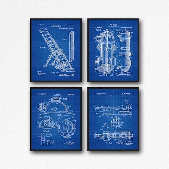 Fire Fighter Blueprints Fire Blueprints Fireman Decor