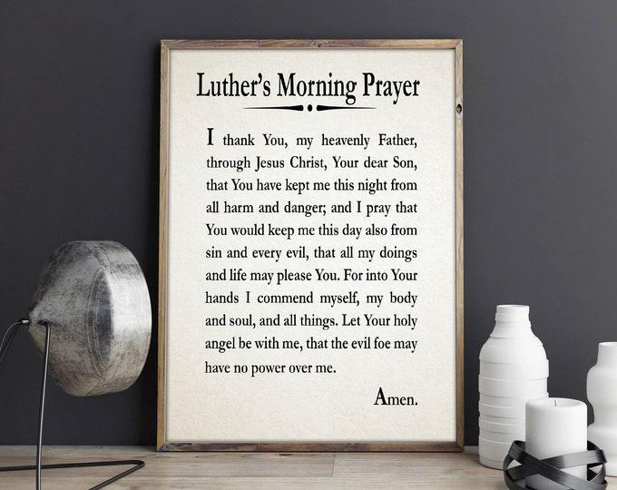 Luther's Morning Prayer Martin Luther Prayer Print