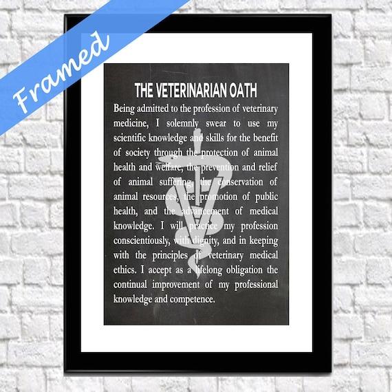 Vet Gift Gift for Veterinarian Wall Art Framed Veterinarian Oath Framed Gift