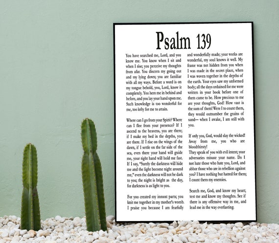 Psalm 139 Print Psalm Gift Biblical Wall Art