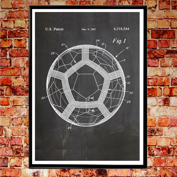 World Cup Ball Soccer Poster Football Print Football Patent Print Wall Art Football Wall Art Soccer Wall Art Soccer Decor Soccer Gifts WB059