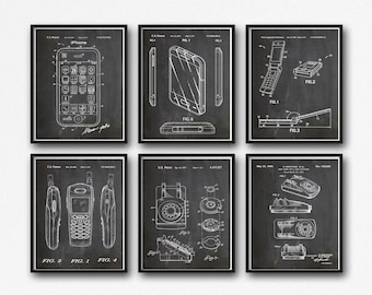 Phone Patent Prints Set of Phone Posters Apple iPhone Samsung Rotary Phone Nokia Mobile phone Motorola Razor V3 Portable Telephone WB078