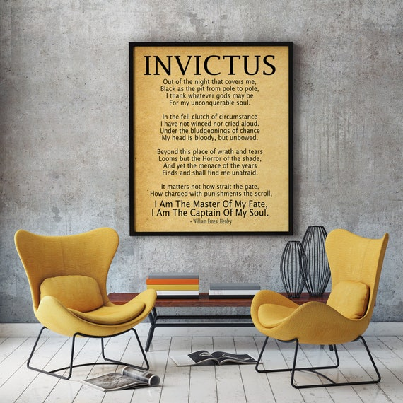 Invictus Poem Invictus Print Art Print by William Ernest Henley Captain of My Soul Master of My Fate Invictus Poster