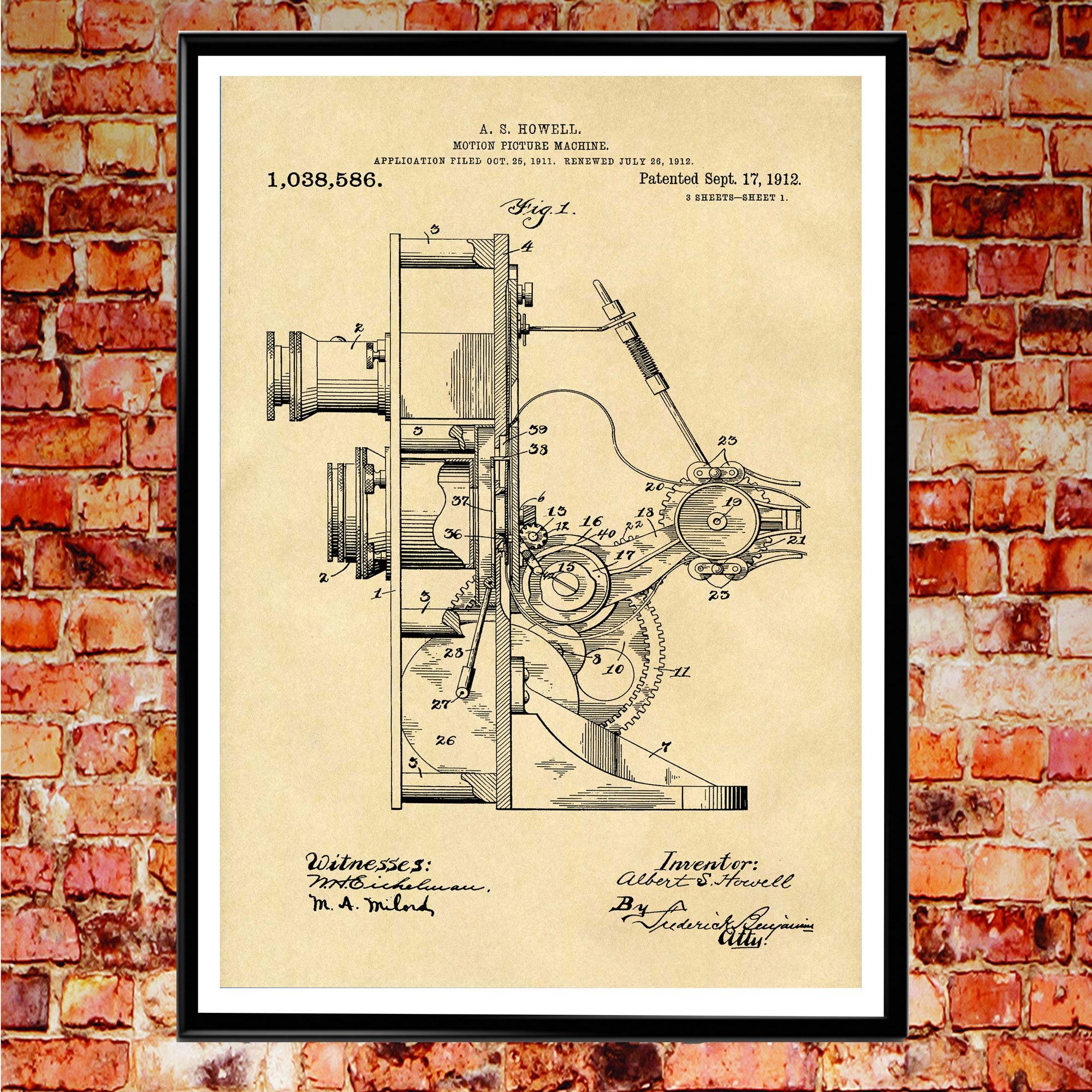 Movie Camera Patent Poster Movie Blueprint Wall Art Movie Decor for ...