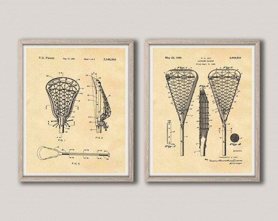 Lacrosse Stick Patent Print Set of 2 Lacrosse Sticks LAX Decor LAX Player Art Lacrosse Player Gift for Lacrosse Coach WB292-WB293
