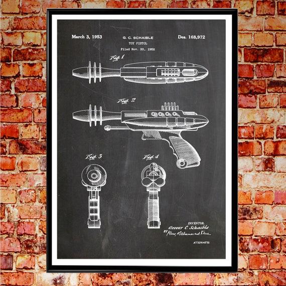 Pyrotomic Disintegrator Pistol Patent Print Toy Space Gun Toy Wall Art Pistol Wall Art Gun Posters 1950s Poster Space Poster Space Art WB080