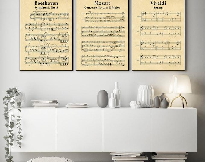 Set of 3 Classical Music Sheets Beethoven Mozart Vivaldi