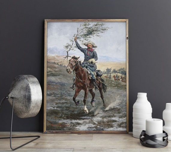 Frederic Remington The Flag of Truce in the Land Painting Remington Painting Horse Painting Cowboy Painting Western Poster Western Decor