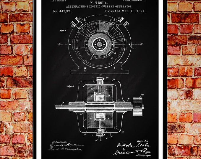 Tesla Poster Art Nikola Tesla Patent Print Alternating Electric Current Patent Print Engineering Wall Art Engineer Gift Mechanic Gift WB024