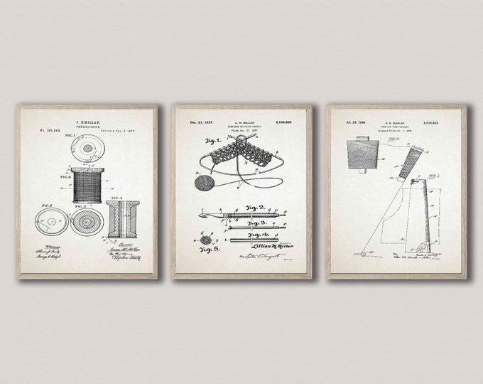 Knitting Patent Prints Knitting Gift Idea Set of 3 WB510-511