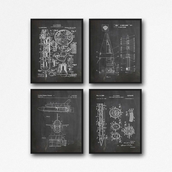 Space Rocket Inventions Space Posters Set of 4