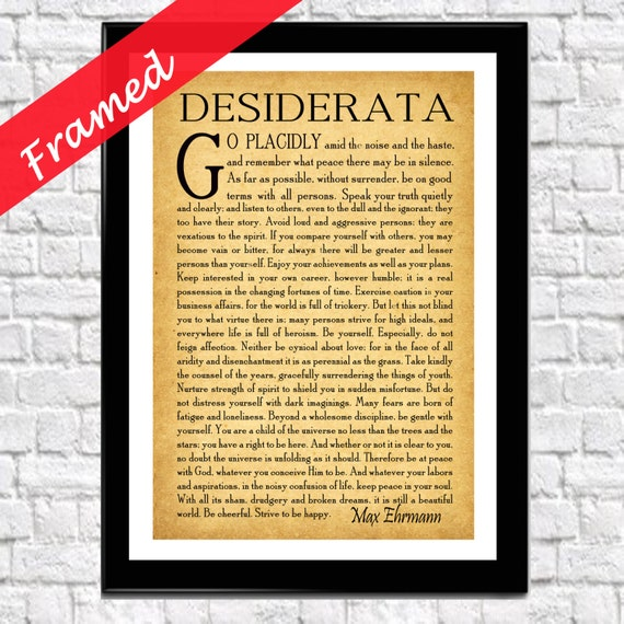 Framed Desiderata Poem Desiderata Poster Framed Graduation Poem Inspirational Poetry Literary Print Gift for Student Art Print