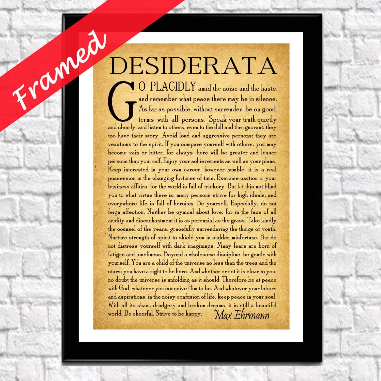 Gerahmte Desiderata Gedicht Desiderata Poster gerahmt Gedicht | Etsy