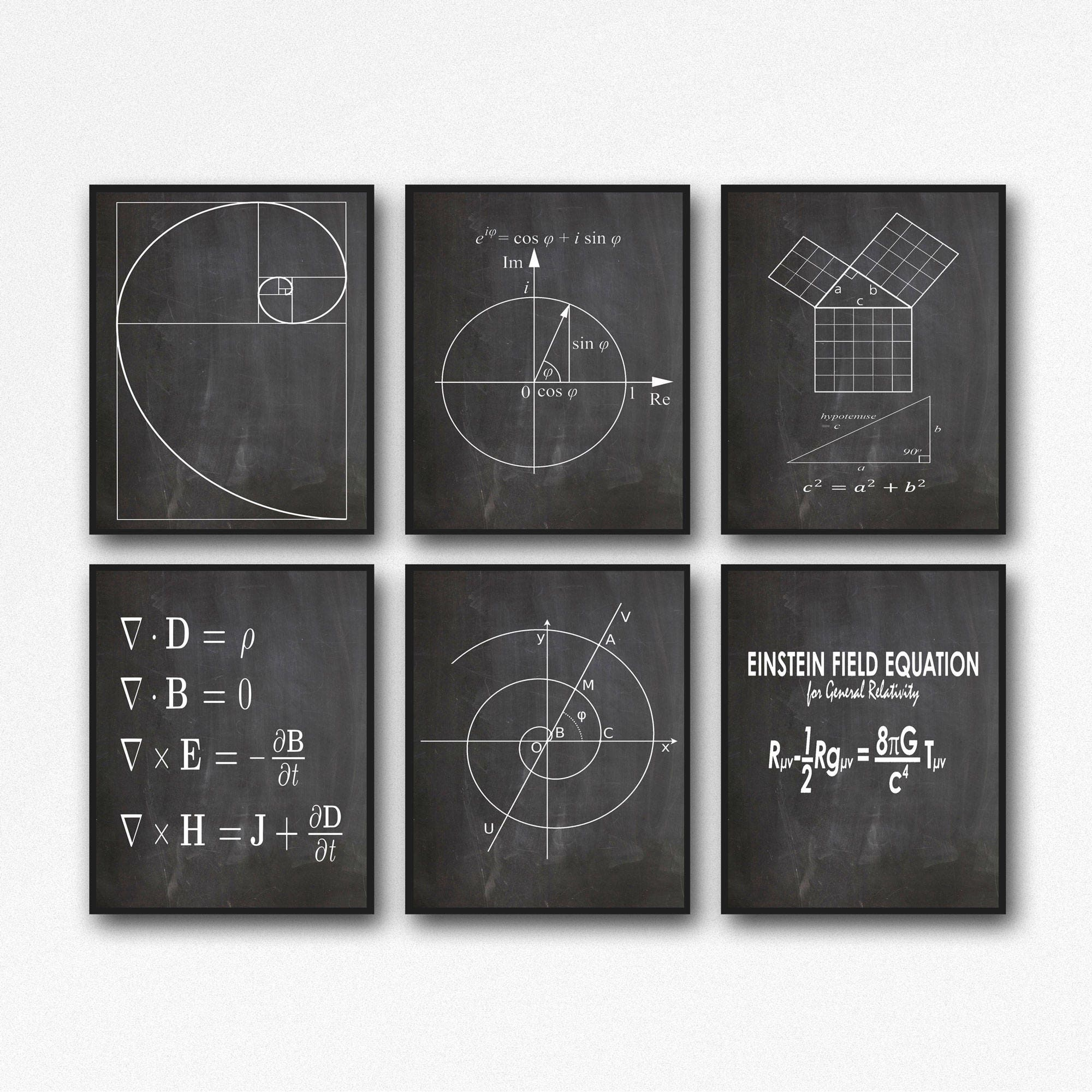Math Poster Set of 6 Math Prints Fibonacci Golden Spiral ...