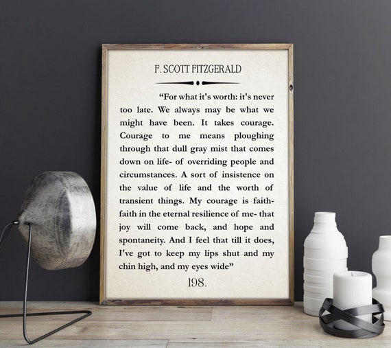 F Scott Fitzgerald Quote Great Gatsby Poster Great Gatsby Wall Art Literary Quote Literary Quote Inspiring Gift Inspiring Gift
