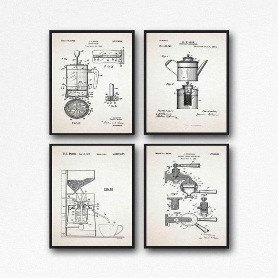 Coffee Prints Coffee Patent Print Set of 4 Coffee Posters Cafe Wall Art Coffee Maker Coffee Machine Coffee Percolator Coffee Art WB261-264