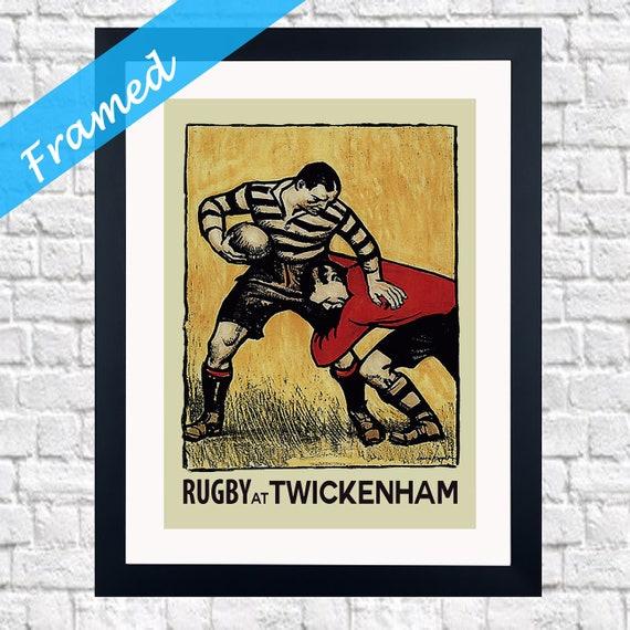 Vintage Rugby Framed Wall Art Rugby Decor England Rugby Print Twickenham Rugby