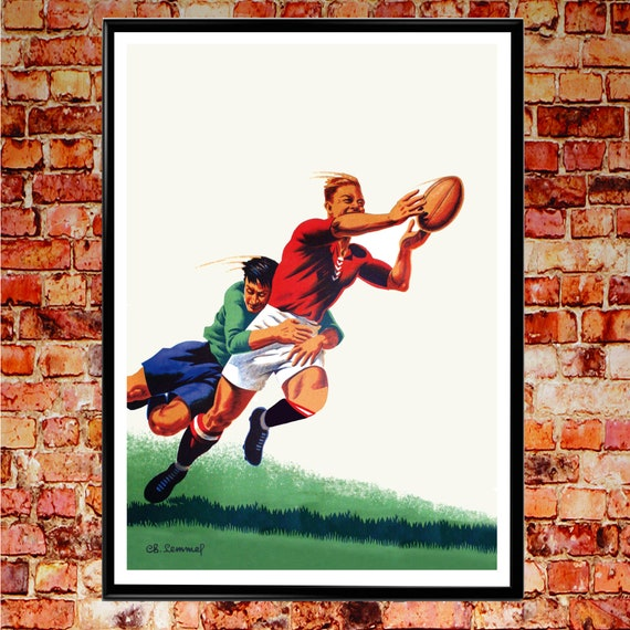 Rugby Print Rugby Gift Vintage Rugby Wall Art Rugby Illustration
