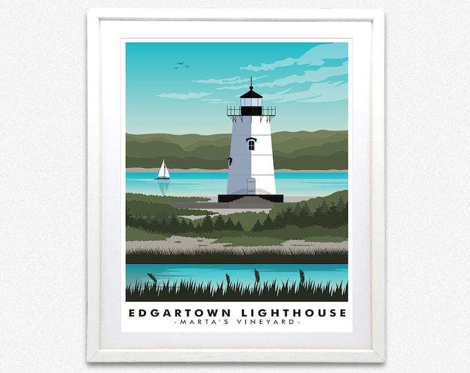 Edgartown Lighthouse Martha's Vineyard Travel Print