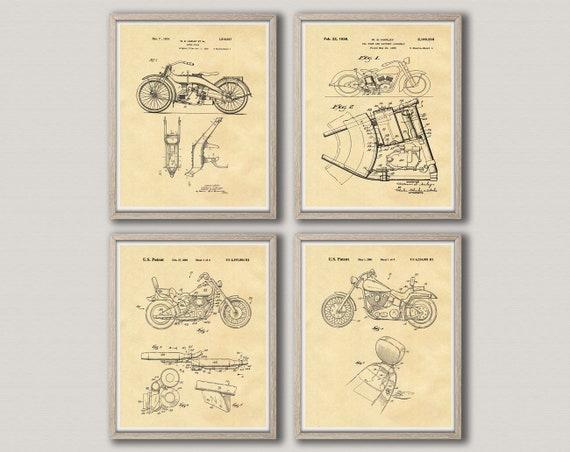 Motorbike Wall Art Harley Davidson Gift Motorcycle Art Motorcycle Posters Motorbike Prints Motorbike Decor Set of 4 Motorcycles WB303-WB306