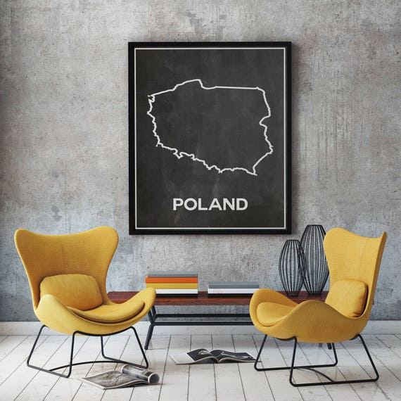 Map of Poland Map Outline Map of Poland on Chalkboard Background Polish Wall Art Warsaw Poster Polish Poster Poland Prints Poland Decor