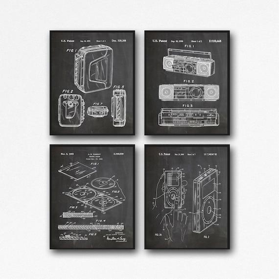 Music Technology Posters Set of Music Posters iPod Patent Compact Disc Patent Walkman Patent Boom Box Patent Music Evolution Print WB154