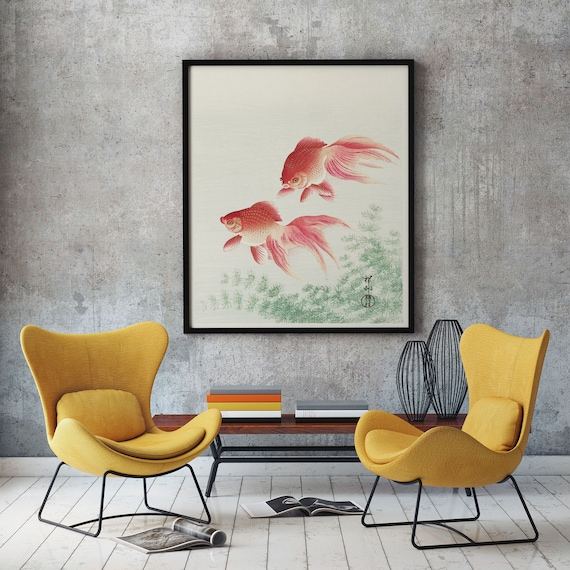 Goldfish Poster Goldfish Decor Goldfish Prints Japanese Fish Decor Peach Wall Art Peach Poster Goldfish Prints Goldfish Art China Goldfish