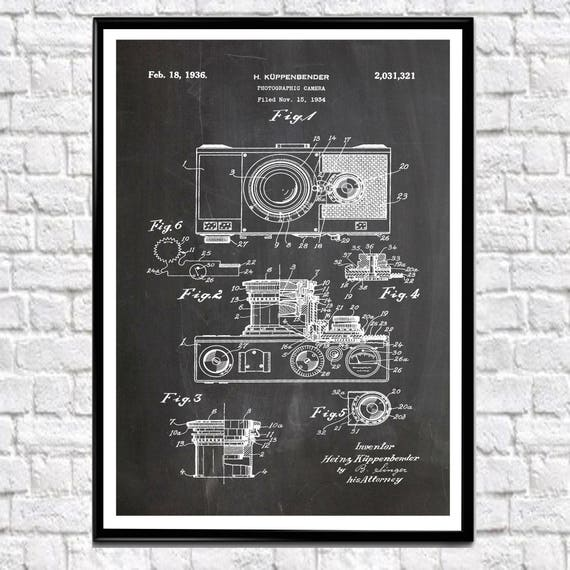 Camera Patent Poster 1934 Photographic Large Camera Print Camera Wall Art Photographer Gift Photographer Art Vintage Camera Gift (WB122)