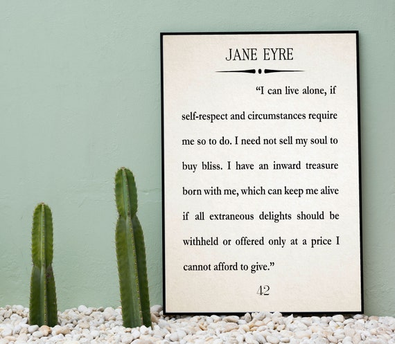 Jane Eyre Quote Jane Eyre Large Book Quote Wall Art Charlotte Brontë Quote